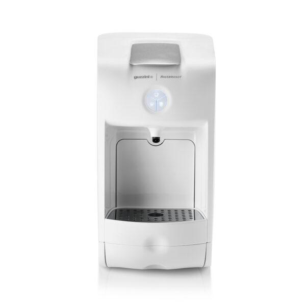 Guzzini aparat za espresso kafu za ristretto, standardni espresso, produženi doppio ili lungo espresso. Aparat koristi isključivo Hausbrand kapsule za kafu. Kafe aparat za kućnu upotrebu ili kancelarije u beloj boji