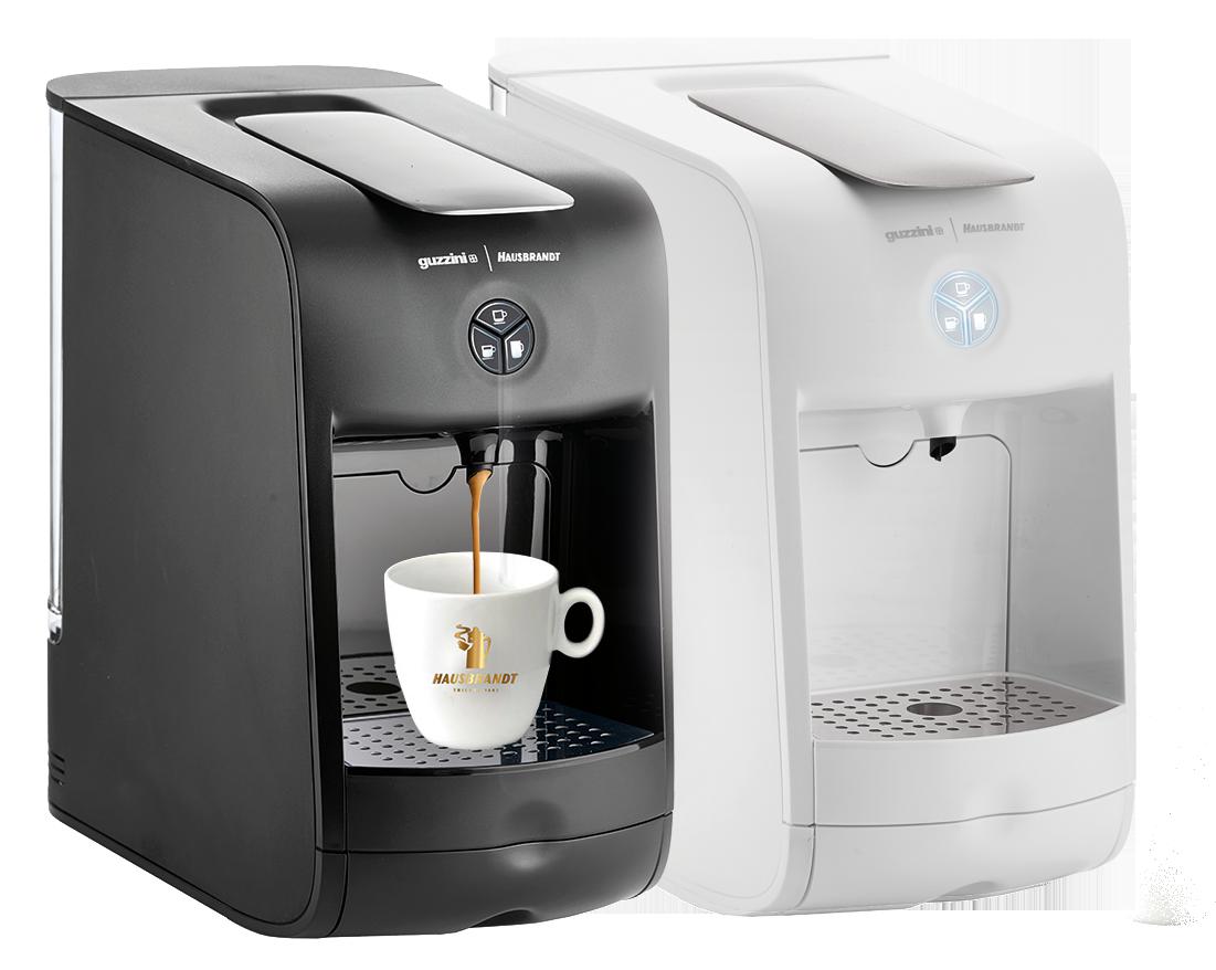 Guzzini aparat za espresso kafu za ristretto, standardni espresso, produženi doppio ili lungo espresso. Aparat koristi isključivo Hausbrand kapsule za espreso. Kafe aparat za kućnu upotrebu ili kancelarije.