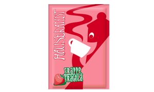 Hausbrandt frappe prašak za pripremanje hladnog napitka sa ukusom jagode. Milk shake jagoda. Priprema sa mlekom u blenderu. Slatki, ledeni, kremasti i osvežavajući napitak.