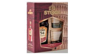 stock 84 brendi plus dve čaše gift