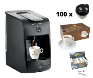 Hausbrandt promotivni paket 1 sadrži aparat za espresso Guzzini, 100 standardnih kapsula espresso kafe Herman, set porcelanskih šoljica za espresoi šećeriće. Kompletna ponuda kafe aparat za kućnu upotrebu ili espresso za kancelariju.