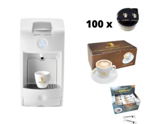 Hausbrandt promotivni paket 2 sadrži aparat za espresso Guzzini, 100 standardnih kapsula espresso kafe Herman, set šoljica za kapućino i šećerice. Komletna ponuda kafe aparata za kućnu upotrebu.