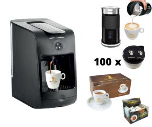 Hausbrandt promotivni paket 3 sadrži aparat za espresso Guzzini, 100 standardnih kapsula espresso kafe Herman, set porcelanskih šoljica za espreso, šećeriće i aparat za cappuccino Milk Frother za penu od mleka.