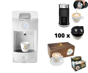 Hausbrandt promotivni paket 4 sadrži aparat za espresso Guzzini, 100 standardnih kapsula espresso kafe Herman, set šoljica za kapućino, šećeriće i aparat za cappuccino Milk Frother za penu od mleka.