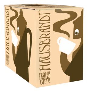 Hausbrandt frappe prašak za pripremanje hladnog napitka sa ukusom kafe. Milk shake kafa. Priprema sa mlekom u blenderu. Slatki, ledeni, kremasti i osvežavajući napitak. Ice cafe, mlečna ledena kafa.