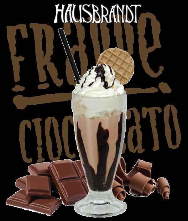 Hausbrandt frappe prašak za pripremanje hladnog napitka sa ukusom čokolade. Milk shake čokolada. Priprema sa mlekom u blenderu. Slatki, ledeni, kremasti i osvežavajući napitak. Milk šejk u čaši sa šlagom i topingom.