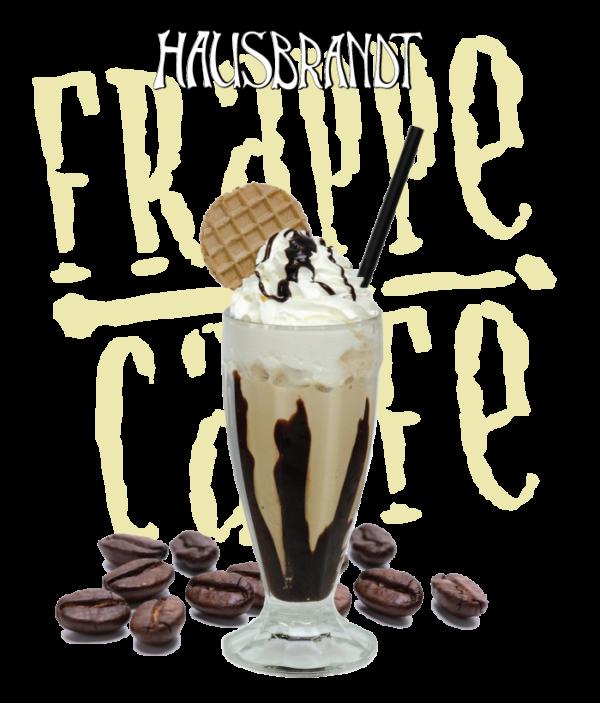 Hausbrandt frappe prašak za pripremanje hladnog napitka sa ukusom kafe. Milk shake kafa. Priprema sa mlekom u blenderu. Slatki, ledeni, kremasti i osvežavajući napitak. Ice cafe, mlečna ledena kafa. Milk šejk u čaši sa šlagom i topingom.
