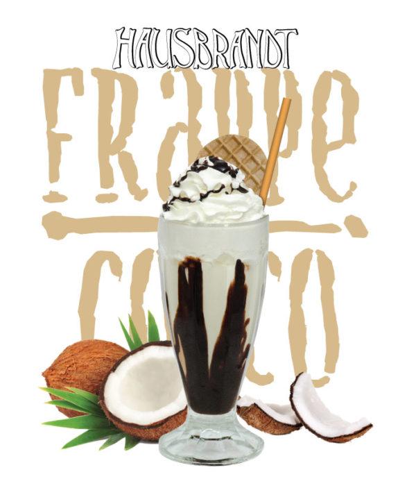 Hausbrandt frappe prašak za pripremanje hladnog napitka sa ukusom kokosa. Milk shake kokos. Priprema sa mlekom u blenderu. Slatki, ledeni, kremasti i osvežavajući napitak. Milk šejk u čaši sa šlagom i topingom.