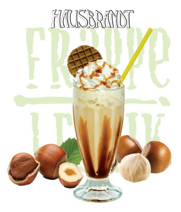 Hausbrandt frappe prašak za pripremanje hladnog napitka sa ukusom lešnika. Milk shake lešnik. Priprema sa mlekom u blenderu. Slatki, ledeni, kremasti i osvežavajući napitak. Milk šejk u čaši sa šlagom i topingom.
