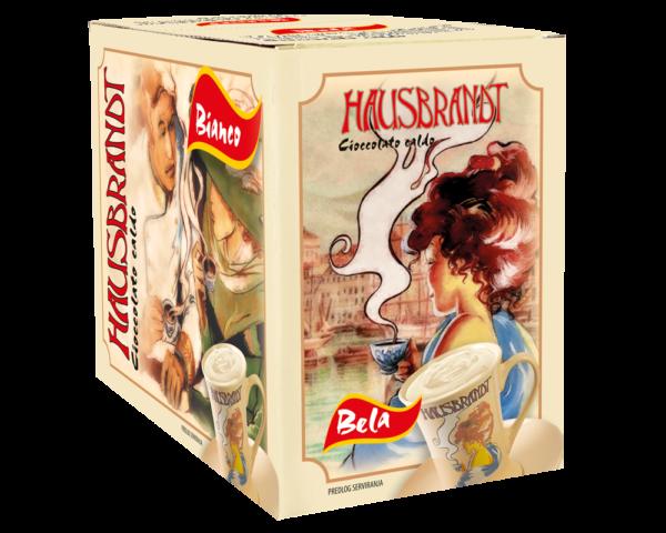 Hausbrandt bela topla čokolada. Prašak za pripremanje toplog napitka na bazi bele čokolade i mleka. Podgodno za pripremu na profesionalnim aparatima za espresso ili pripremu na pari.