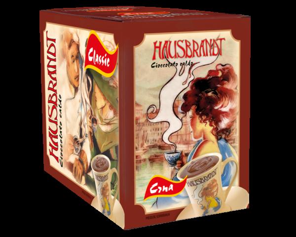 Hausbrandt crna topla čokolada. Prašak za prirpmanje toplog napitka na bazi crne čokolade i mleka. Podgodno za pripremu na profesionalnim aparatima za espresso ili pripremu na pari.